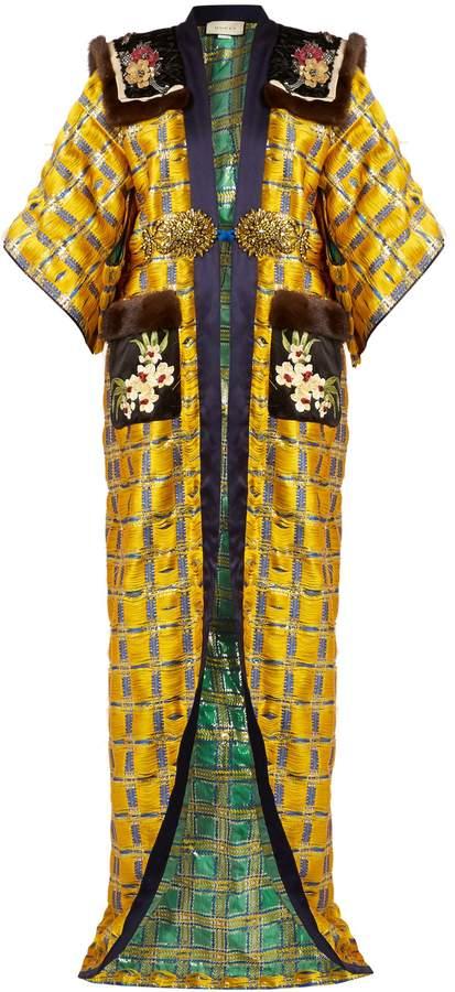 GUCCI Embellished kimono-sleeve fur-trimmed coat