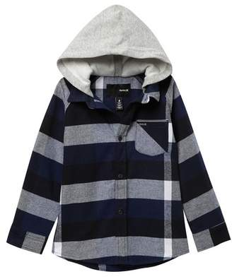 Hurley Long Sleeve Hooded Flannel Shirt (Little Boys)
