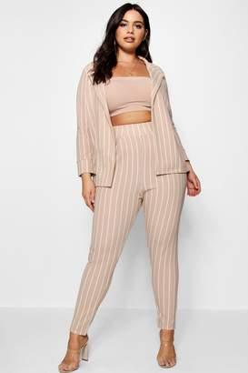 boohoo Plus Pastel Stripe Blazer & Tailored Trouser