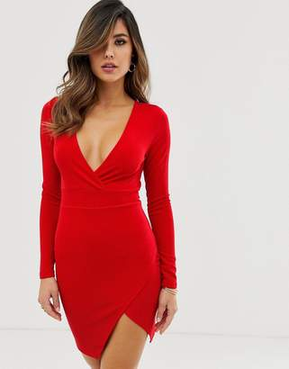 AX Paris long sleeve bodycon dress with side split