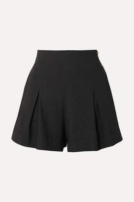 Vince Pleated Linen-blend Shorts - Black