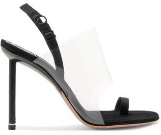 Kaia Grosgrain-trimmed Suede And Pvc Slingback Sandals - Black