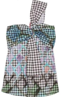 Peter Pilotto Printed One-Shoulder Cotton-Blend Gingham Top