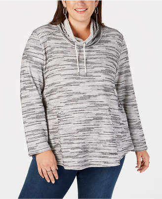 Style&Co. Style & Co Plus Size Space-Dyed Cowl-Neck Sweatshirt, Created for Macy's