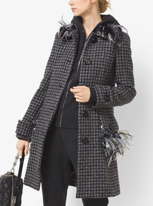 Michael Kors Feather-Embroidered Houndstooth Tweed Coat