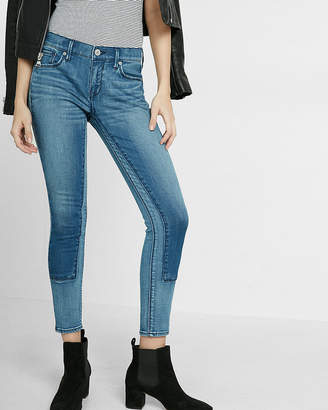 Express Mid-Rise Two Tone Patch Ankle Legging