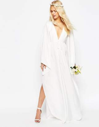 Asos Design Bridal Waterfall Jumpsuit with Tie Waist