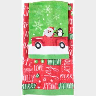Holiday Time Christmas Wish 2-Piece Hand & Tip Towel Set 2 pc Pack