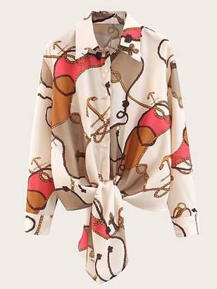 Shein Knot Hem Rope Print Shirt