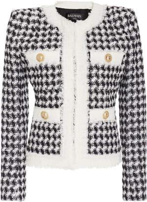 Balmain Collarless Houndstooth Tweed Jacket