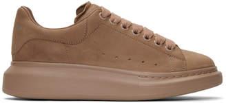 Alexander McQueen Taupe Suede Oversized Sneakers