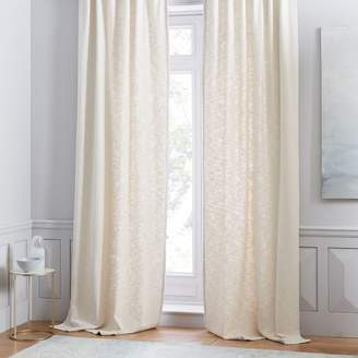 west elm Cotton Textured Weave Curtain - Stone White