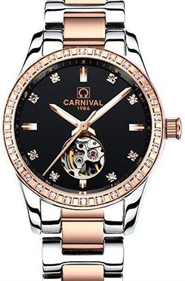 Carnival レディースアナログ光とベゼルインレーラインストーンファッション自動機械スケルトンFemale Watch Rose Gold
