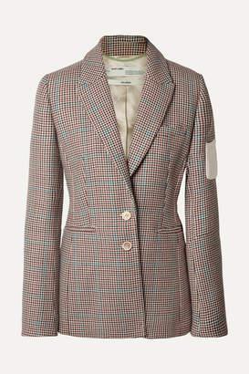 Off-White Appliquéd Checked Wool Blazer - Brown