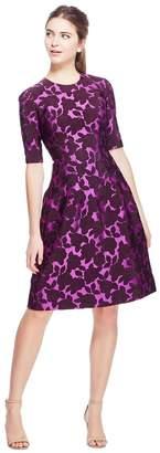 Lela Rose Floral Matelasse Holly Elbow Sleeve Dress