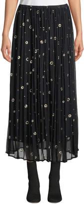Vince Metallic Embroidered Silk Long Skirt