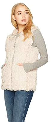Angie Women's Faux Fur Zip Front Hooded Vest