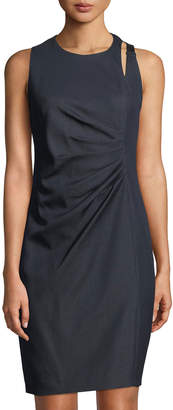 T Tahari Side-Ruched Buckle-Shoulder Sheath Dress