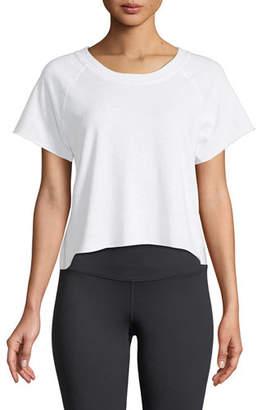 Monrow Raw-Edge Scoop-Neck Side-Stripe Sweatshirt Top