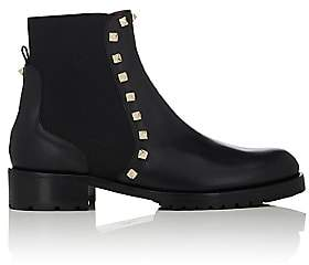 Valentino Women's Rockstud Leather Biker Ankle Boots-Black