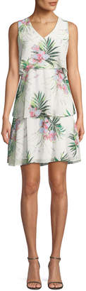 Donna Ricco Floral Tiered Sleeveless Dress