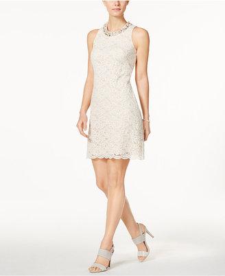 Jessica Howard Embellished Lace V-Back Sheath Dress $109 thestylecure.com
