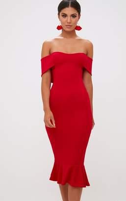 98514f385d PrettyLittleThing Black Bardot Frill Hem Midi Dress