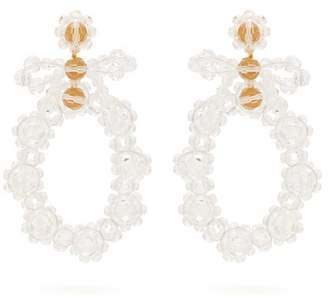 Simone Rocha Bow Crystal Drop Earrings - Womens - Clear