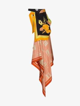 Dries Van Noten Printed Silk Scarf Belt Skirt