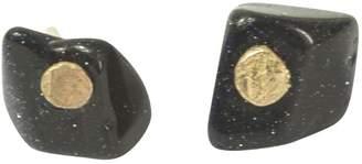 Lily Flo Jewellery - Blue Goldstone Gemstone Slice On 14K Gold Stud Earring