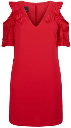 Pinko Pleated Ruffle Cold Shoulder Dress