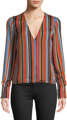 Astr Doreen Striped V-Neck Long-Sleeve Top