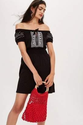 Topshop Petite Embroidered Spot Bardot Dress