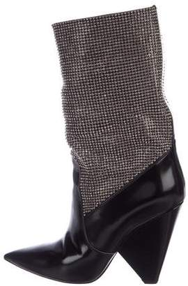 Saint Laurent Niki Crystal-Embellished Boots