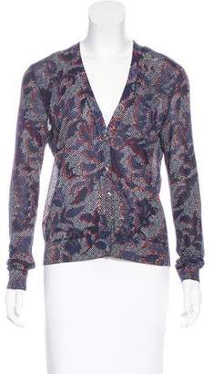 Tory Burch V-Neck Abstract Pattern Cardigan