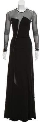 Ralph Rucci Mesh-Accented Evening Dress