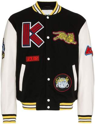 Kenzo logo dragon embroidered wool blend varsity jacket