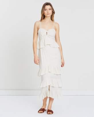 Atmos & Here Linen Blend Ruffle Midi Dress