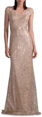 David Meister Embroidered Gown w/ Metallic Floral Applique