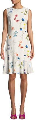 Escada Sleeveless Watercolor Floral-Print A-Line Dress