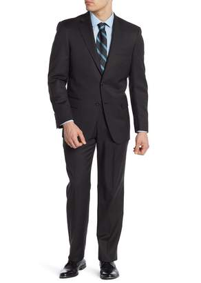 Hart Schaffner Marx Black Striped Two Button Notch Lapel Worsted Wool Suit