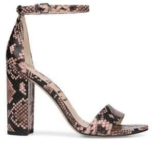 Sam Edelman Orient Express Yaro Snake Print Leather Ankle-Strap Sandals