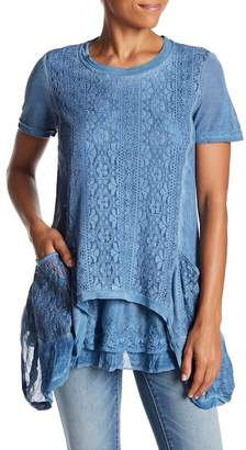 Couture Simply Lace Detailed Asymmetrical Hem Tunic
