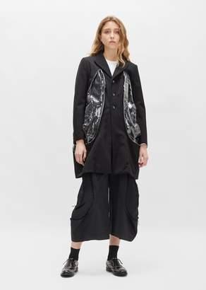 Comme des Garcons Wool Barathea Coat Black x Clear