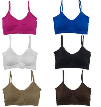 78d7d2941e583 Le Ange Intimates Women s 6 Pack Plus Size Adjustable Straps Padded  Scoopneck Wire Free Bralettes Bras