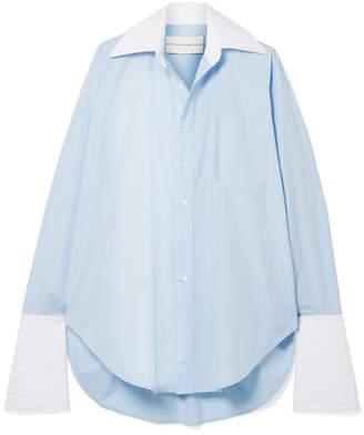 44dcd7adb44 Matthew Adams Dolan - Oversized Two-tone Cotton-poplin Shirt - Light blue