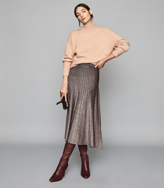 Reiss BEA Metallic pleat-effect skirt Bronze