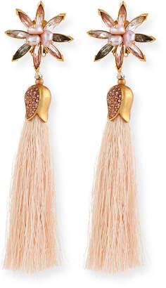 Sequin Floral Crystal Tassel Earrings