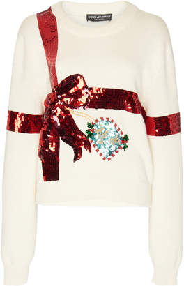 Dolce & Gabbana Bow Sequin-Embellished Knit Sweater