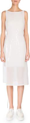 Akris Sleeveless Grid-Print Dress, Anemone